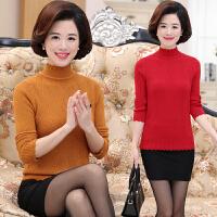 秋冬季中老年女装纯色上衣大码妈妈装半高领长袖针织衫打底毛衣秋