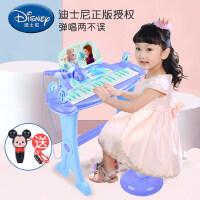 迪士尼冰雪奇缘宝宝钢琴玩具儿童女孩电子琴玩具带话筒可弹奏3-6