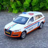1:32奥迪A8警车合金汽车模型原厂仿真金属玩具车声光回力警察车模 奥迪Q7白色警车 盒装
