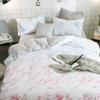 棉四件套北欧小清新简约棉床品套件单双人床单被套三件套
