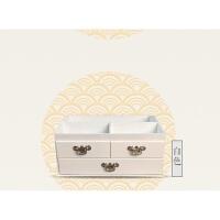 大号复古木制桌面化妆品收纳盒木质梳妆台护肤收纳盒抽屉式带镜子 白色 大号现货