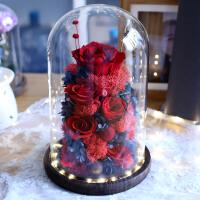 永生花生日礼物情人节送女生朋友玻璃罩玫瑰花干花保鲜花苔藓小熊 老婆我爱你(灯光电池款)