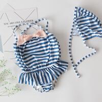 儿童泳衣女孩连体中大童女宝宝泳装夏季条纹蝴蝶结女童游泳衣
