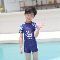 儿童泳衣男童泳裤小中大童分体短袖游泳衣男孩宝宝防晒游泳套装