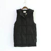 195-5091韩版时尚秋冬新款纯色女式连帽棉马甲长款棉衣修身棉袄 黑色 均码