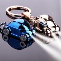 带LED灯小汽车钥匙扣男女士情侣钥匙链挂件圈可爱韩国风不锈钢挂件