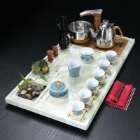 【品牌热卖】茶具套装四合一茶具套装石头茶盘欧式家用现代简约客厅石头茶台自动四合一 天青绿植茶盘+绿色珐琅彩 20件