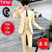 男士韩版修身小西装青年春秋季帅气三件套学生个性西服套装潮衣服