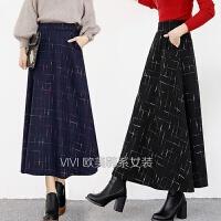 秋季半裙高腰裙子格子毛呢半身裙中长款大摆裙女半身长裙复古冬裙