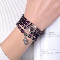 女款108颗紫水晶生肖手链男狗年多圈水晶手串时尚流行