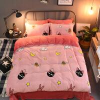 夏季纯棉四件套全棉单人三件套美少女战士露娜粉色被套少女心床单