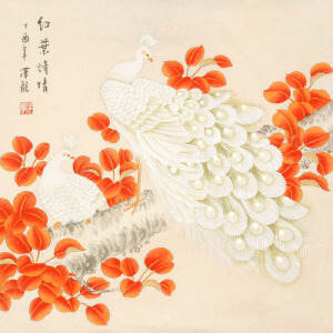 著名画家 萧泽龙《红�~诗情》68cmx68cm