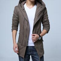 冬装男士中长款棉衣连帽加肥加大码潮流个性外套青年加厚潮 Y999卡其色
