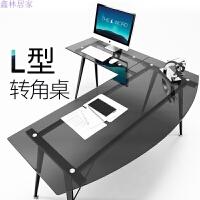 L型办公桌简约现代拐角书桌个性转角电脑桌钢化玻璃写字台家用 桌 椅(F1) 柜(S11) 架