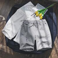 韩版弹力夏季男士休闲短裤纯色修身割破百搭潮流五分裤