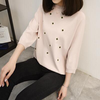半袖圆领针织T恤女 插肩袖超薄套头打底衫 五分袖绣花低领冰麻衫