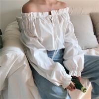 港味复古chic风春新款木耳花边气质系带松紧一字领长袖上衣衬衫女