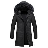 新款羽绒服男士中长款冬季加厚韩版修身青年学生外套男潮 黑迷彩 L