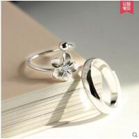 创意花朵光面指环男女戒指999纯银情侣戒指环开口韩版一对戒