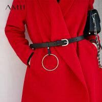 Amii[极简主义]时尚 牛皮腰带2017冬季新款拼接圆环金属针扣配饰