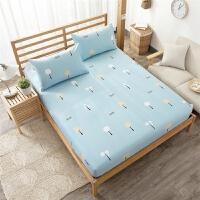 床笠单件棉棉1.8m米床滑保护套尘罩床垫套席梦思床罩T 米白色 美好心情 特殊尺寸定做联系客服