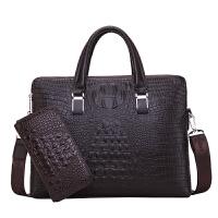 男包手提包真皮横款鳄鱼纹男士包包牛皮包单肩斜挎包公文包商务潮 深棕色 送同款手包