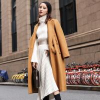 秋冬新款宽松加长款英伦纯色毛呢大衣女翻领时尚呢子外套女装 卡其色