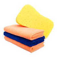 洗车毛巾细纤维吸水擦车毛巾洗车布 三条装40*40cm+海绵