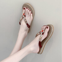 人字拖鞋百搭女夏时尚新款外穿脚趾平底凉拖水钻海边沙滩凉拖鞋