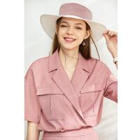 Amii洋气工装风潮西装套装女2020夏季新款炸街阔腿裙裤职业两件套