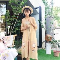 2018夏季新款韩版小清新修身雪纺刺绣中长款防晒衣学生女ulzzang
