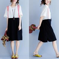 大码连衣裙夏季女胖mm韩版宽松中长款纯棉拼接显瘦假两件套背带裙