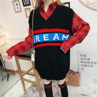 网红三件套装女2018秋冬季韩版时尚气质格子衬衫V领马甲长袜子潮 均码