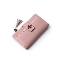 日韩小钱包女短款韩版迷你女士钱夹2018新款零钱包 长款蜜蜂粉 拍下送镜子
