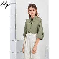 Lily20夏新款纯色滑爽衬衫袖气质单排扣宽松衬衫女119220C4161