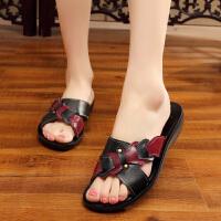 凉拖鞋女夏季外穿平底防滑女鞋老人舒适软底皮鞋