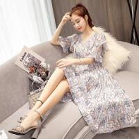 碎花连衣裙2018新款夏季女装中长款韩版时尚修身显瘦仙女温柔 蓝色 蓝灰色
