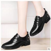 古奇天伦新款韩版百搭尖头粗跟单鞋小皮鞋女英伦学院风中跟春季女鞋子DFG8699