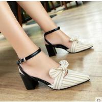 穆勒鞋凉鞋女高跟新款凉拖女尖头蝴蝶结中跟百搭粗跟鞋子