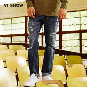 VIISHOW2017秋装新品牛仔长裤男破洞做旧猫须男士牛仔裤嘻哈风