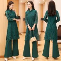 复古中国风气质女2018春夏改良中式修身显瘦蕾丝旗袍两件套连衣裙