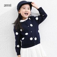 AMII女儿童开衫毛衣加厚2018秋新款中大外套韩版12-15岁保暖时尚