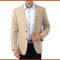 羊毛料休闲西服男装中老年人西装外套中年男士商务单西加大码 米黄色 0/96C