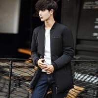 冬季立领男士羽绒服男中长款韩版休闲修身加厚保暖外套男装长褂子 F50黑色 M
