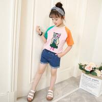 女童纯棉T恤儿童牛仔短裤两件套宝宝夏季薄款运动休闲套装
