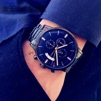 潮流男士手表防水时尚运动精钢带腕表夜光石英学生多功能男表