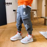 【2件2折】左西男童加绒裤子一体绒儿童休闲运动裤加厚中大童潮冬装2019新款