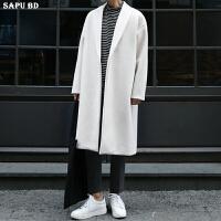 秋冬新款羊毛大衣男长款韩版过膝羊绒大衣男外套男版白色风衣潮流