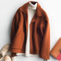 2018秋季新款焦糖色双面羊绒大衣女装短款秋冬装妮子呢子尼小个子学生毛呢外套