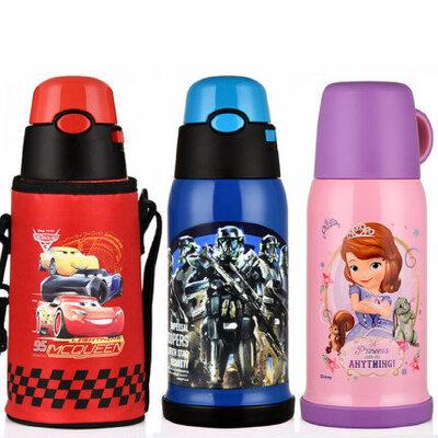 迪士尼儿童保温杯带吸管两用男小学生不锈钢水杯女防摔幼儿园水壶